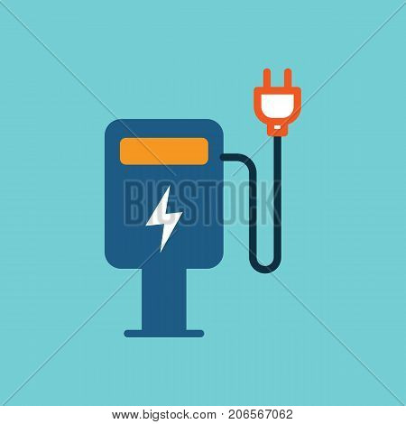 flat color electric car charge station icon on white background