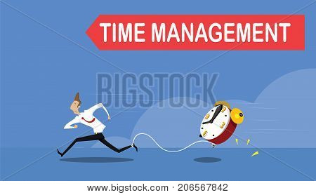 Businessman running away with watches tied to his leg. Time pressure, stress, overworked and deadline concept. Vector