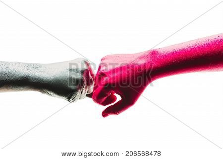 Fist bump art. Team Business Partners Giving Fist Bump to Greeting Start up project. Corporate Teamwork Partnership in an Office Meeting. Fist Bump Colleagues Collaboration Teamwork Concept