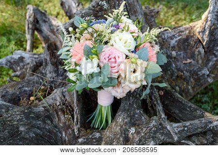 Beautiful Wedding Bouquet Of Fresh White And Pink Roses, Blue Flowers And Greenery Standing On Wood