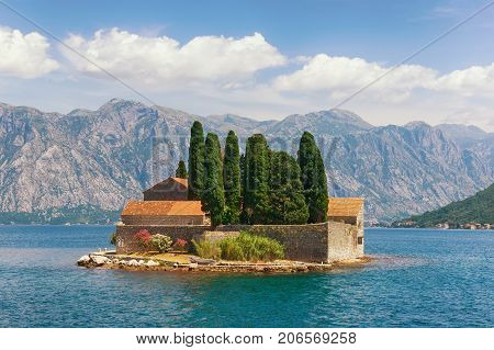 Islet of St. George off the coast of Perast town in Bay of Kotor. Montenegro
