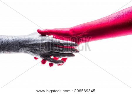 Art handshake contract agreement. Handshake Friendship Partnership two people shaking hands on white background. Negotiating business happy with work enjoying with workmate Deal Concept. Good deal