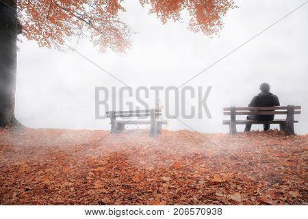 Fall image with a man sitting alone on a wooden bench thinking shrouded by a dense mist and surrounded by autumn colorful nature.