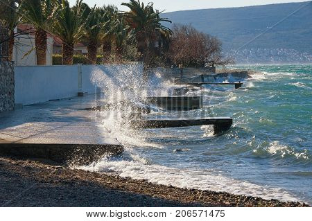 Windy winter day. Bay of Kotor (Adriatic Sea) near Tivat town, Montenegro