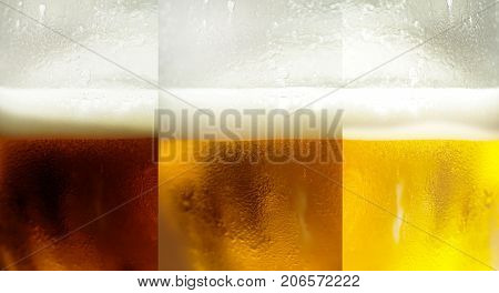 Assorted Beers with three main types of beer - classic light classic white and dark beer. Set of beer in glasses close up. Three glasses with different beers types cold and foaming