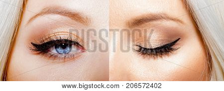 Set collage eyes beautiful with make up open and closed. Blonde young girl with beautiful blue eyes with natural make-up. Painted eyelashes eyebrows body shadows on the face