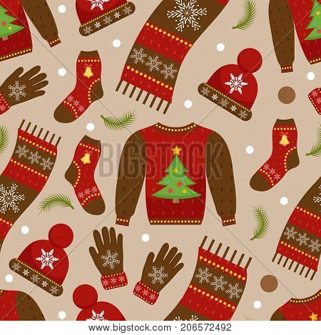 Winter apparel seamless pattern. Christmas clothes repeating texture. Warm clothing Infinite background. Sweater, gloves, hat, socks. Vector illustration