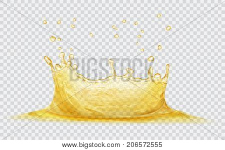 Transparent water crown with water drops. Splash of water in yellow colors isolated on transparent background. Transparency only in vector file