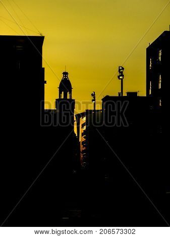 Urban Silhouette Sunset Scene