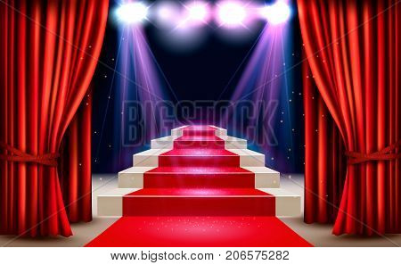 Showroom with red carpet leading to a podium and a spotlight. Festival night show background. Vector.