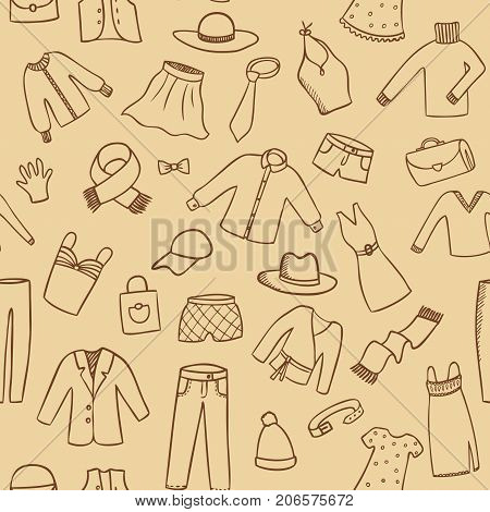 fashion casual clothes sketch seamless vector pattern