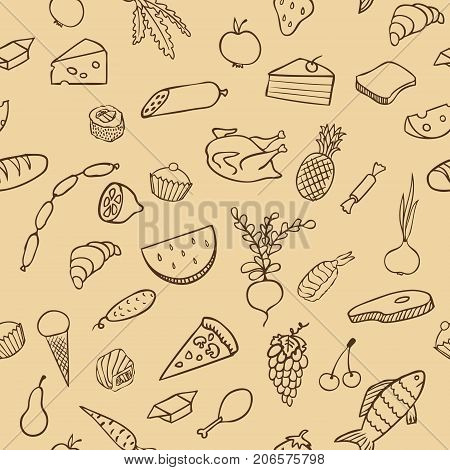 food and cooking seamless vector pattern, brown sketch