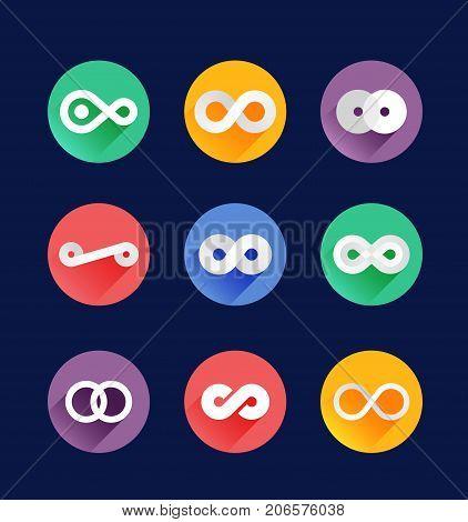 Infinity symbol icons bright flat vector illustration