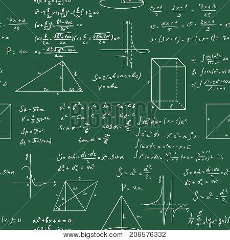 math formulas seamless vector sketch pattern on blackboard