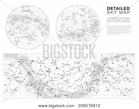 High detailed sky maps vector set with names of stars and constellations