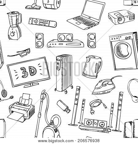 Home electronics icons sketch appliances, seamless pattern