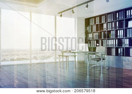Ceo Office Interior, Bookcase Side View Double