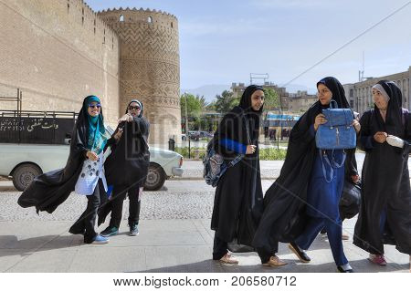 Fars Province Shiraz Iran - 19 april 2017: Iranian school girls returned from excursion of Karim Khan Castle.