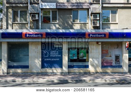 BURGAS BULGARIA - AUGUST 20 2017: Bulgarian Postbank Office (Eurobank Bulgaria AD). Postbank - is a major Bulgarian bank.