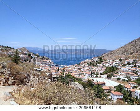 View Of Town Of Hydra From Top Of Island
