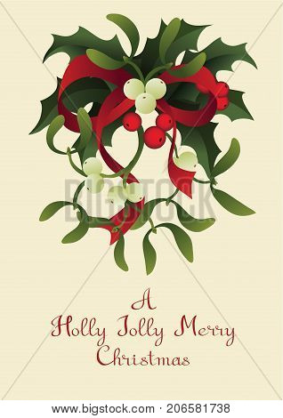 Christmas and holiday season card design with handlettered greeting Holly Jolly Merry Christmas. Rich decorated with a bouquet of Misletoe and Holly berry plant