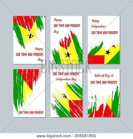 Sao Tome And Principe Patriotic Cards For National Day. Expressive Brush Stroke In National Flag Col