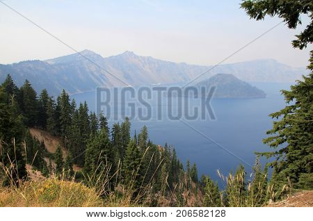Crater lake in Crater Lake national park in Oregon, USA