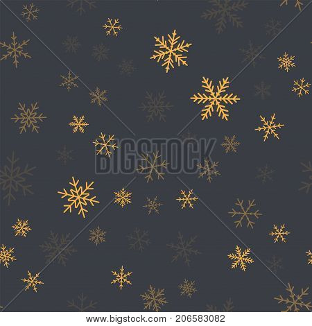 Orange Snowflakes Seamless Pattern On Grey Christmas Background. Chaotic Scattered Orange Snowflakes