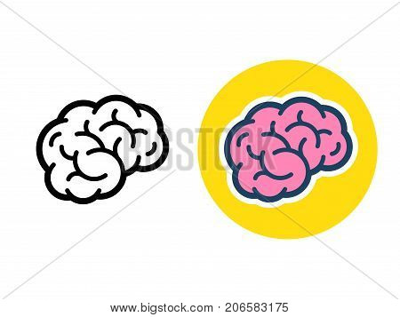 Stylized brain icon or logo black line and color. Simple flat cartoon style human brain vector illustration.
