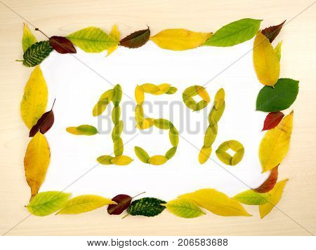 Word 15 percent made of autumn leaves inside of frame of autumn leaves on wood background. Fifteen percent sale. Autumn sale template