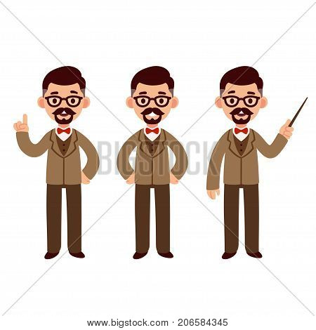 Middle aged professor character set with suit and bow tie. Standing smiling and pointing. Cute cartoon vector illustration.