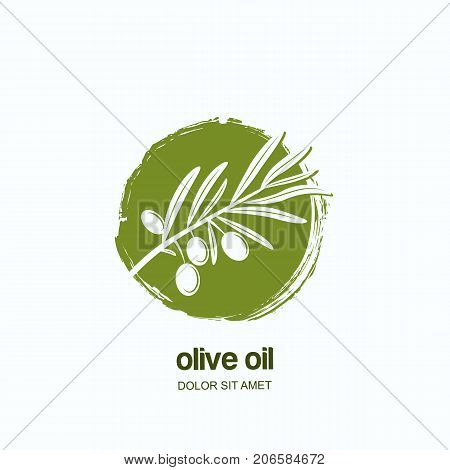 Vector Logo, Label Or Emblem With Green Olive Branch. Concept For Agriculture, Olive Oil And Cosmeti