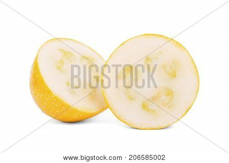 Close-up of a few slices of natural, organic and raw zucchini, isolated on a white background. Perfect round slices of yellow zucchini with seeds. Healthful summer ingredients.