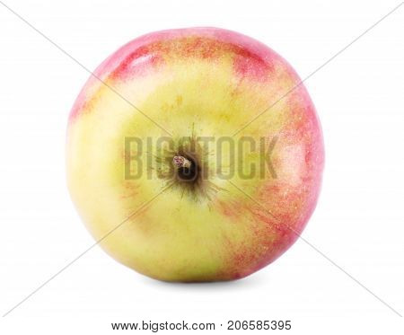 A view from above on a ripe whole apple, isolated over the white background. A beautiful juicy apple fruit, full of vitamins. Nutritious healthful ingredients for summer desserts.