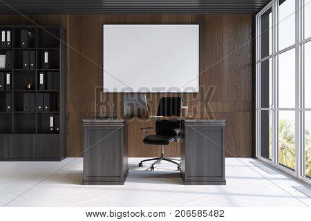 Dark Wood Ceo Office Interior, Poster