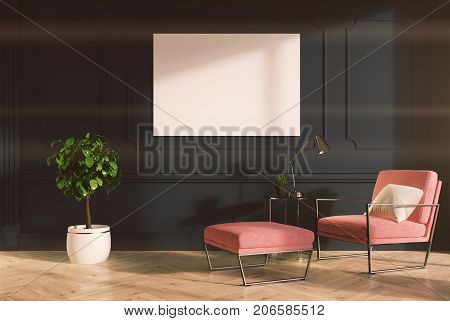 Gray Living Room, Pink Armchair, Poster Toned
