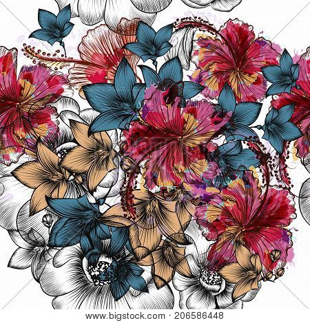 Beautiful tropical pattern with engraved hand drawn flowers in vintage style