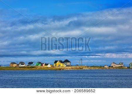 Yellow house in magdalen island in Quebec Canada