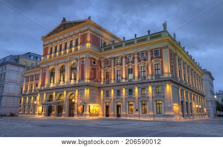 Great Hall of Wiener Musikverein, Viennese Music Association, Home of Philharmonic orchestra by night, Vienna, Austria, HDR