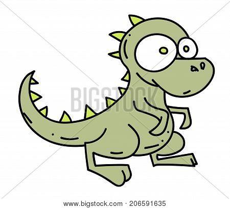 Little dinosaur cartoon hand drawn image. Original colorful artwork, comic childish style drawing.