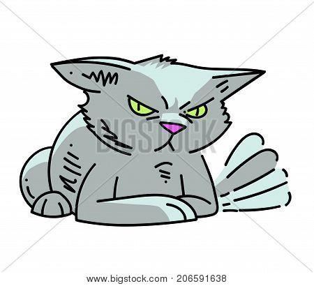 Angry cat cartoon hand drawn image. Original colorful artwork, comic childish style drawing.
