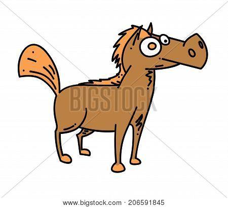 Cartoon horse cartoon hand drawn image. Original colorful artwork, comic childish style drawing.