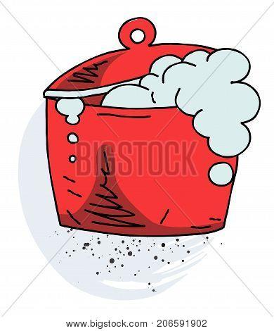 Boiling pan cartoon hand drawn image. Original colorful artwork, comic childish style drawing.