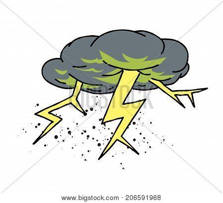 Lightning bolt cartoon hand drawn image. Original colorful artwork, comic childish style drawing.