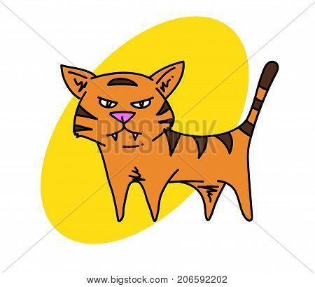 Tiger cartoon hand drawn image. Original colorful artwork, comic childish style drawing.
