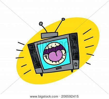 Shouting television set cartoon hand drawn image. Original colorful artwork, comic childish style drawing.