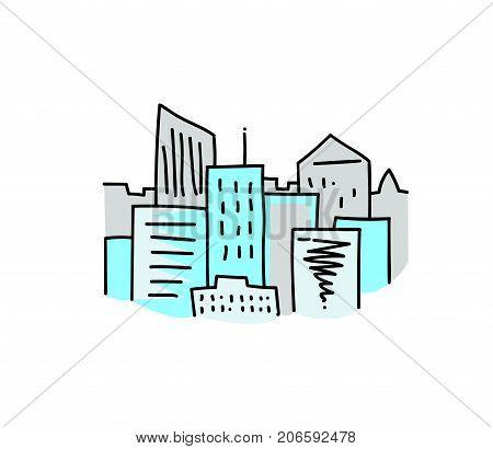 City skyline cartoon hand drawn image. Original colorful artwork, comic childish style drawing.