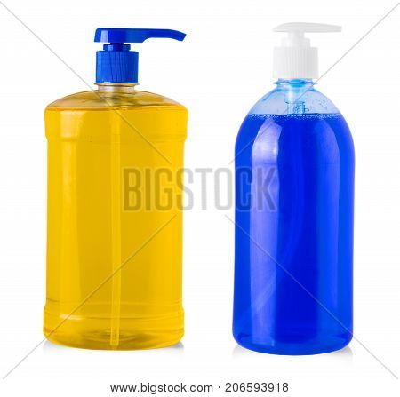 blue plastic bottle with liquid laundry detergent cleaning agent bleach or fabric softener isolated on white background
