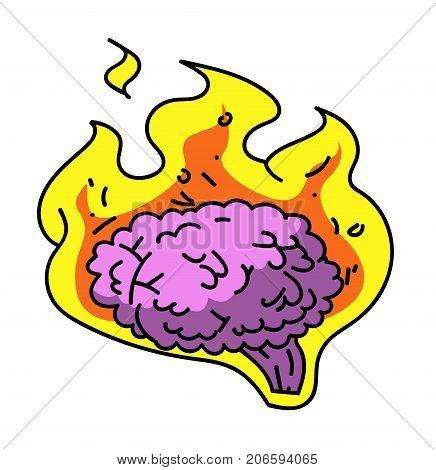 Brain on fire cartoon hand drawn image. Original colorful artwork, comic childish style drawing.