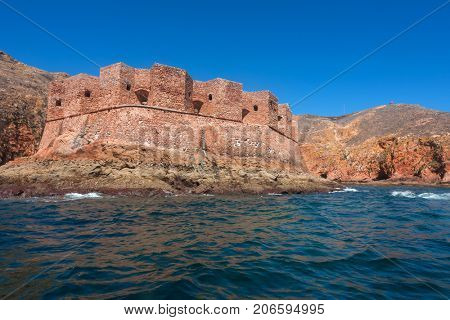 Fort of Sao Joao Baptista in Berlenga island, Portugal, view from the sea.